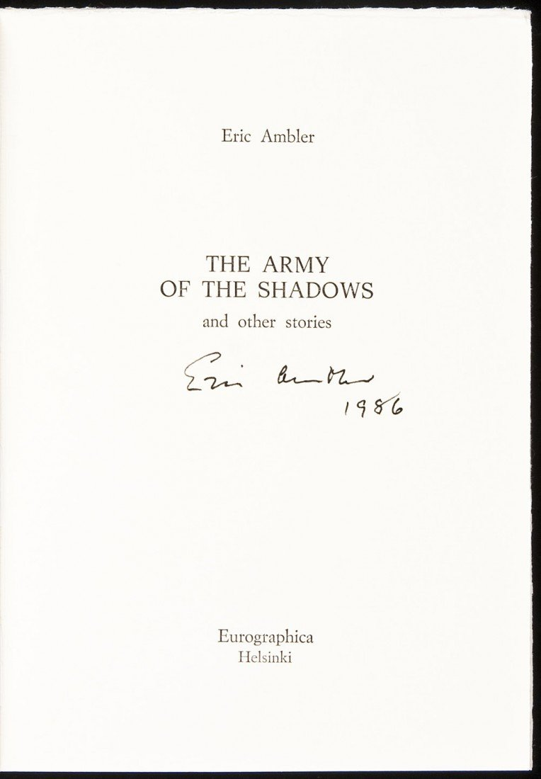 3: Army of the Shadows signed by Eric Ambler