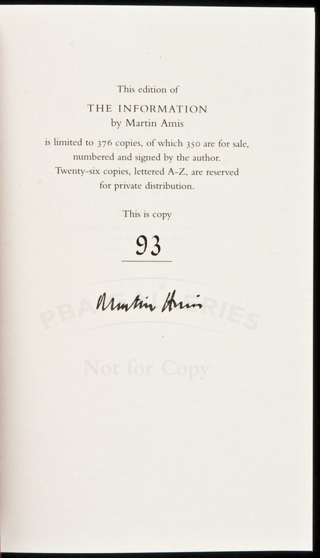 16: Martin Amis The Information Signed Limited Edn