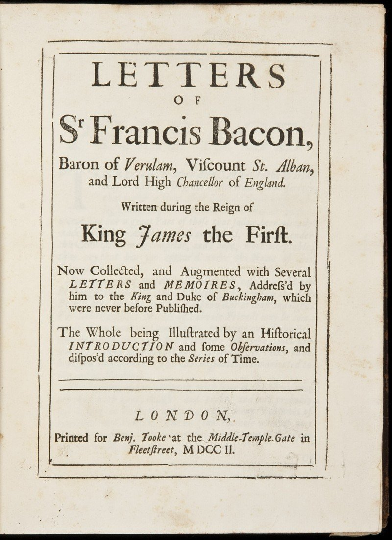 14: Letters of Francis Bacon 1702