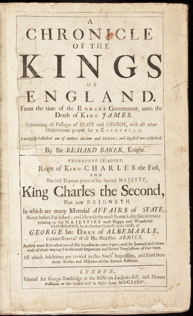 18: Baker's Chronicle of the Kings of England 1674