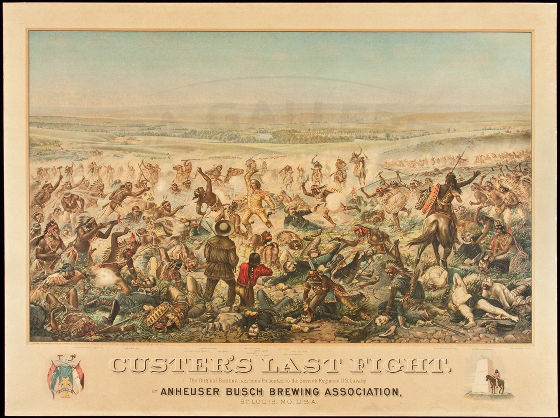 2: Anheuser Buch Lithograph of Custer's Last Fight