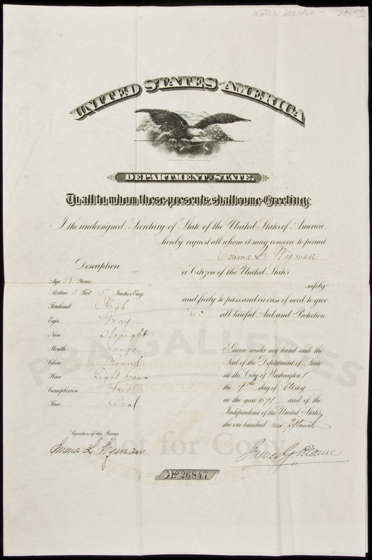 7: Passport Signed by James G. Blaine 1891