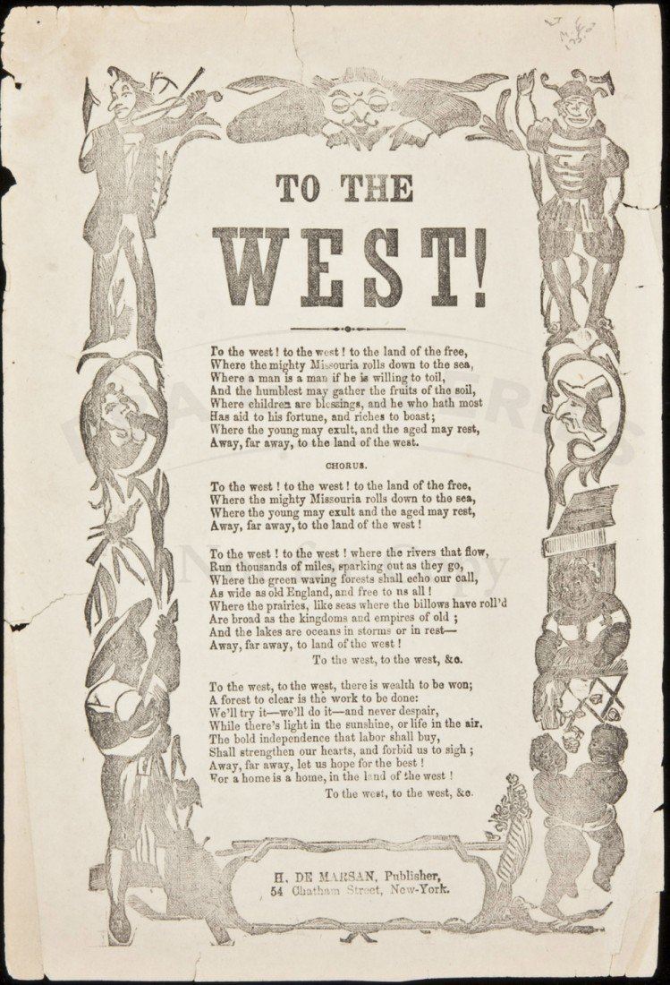 10: To The West! - Broadside Song Sheet