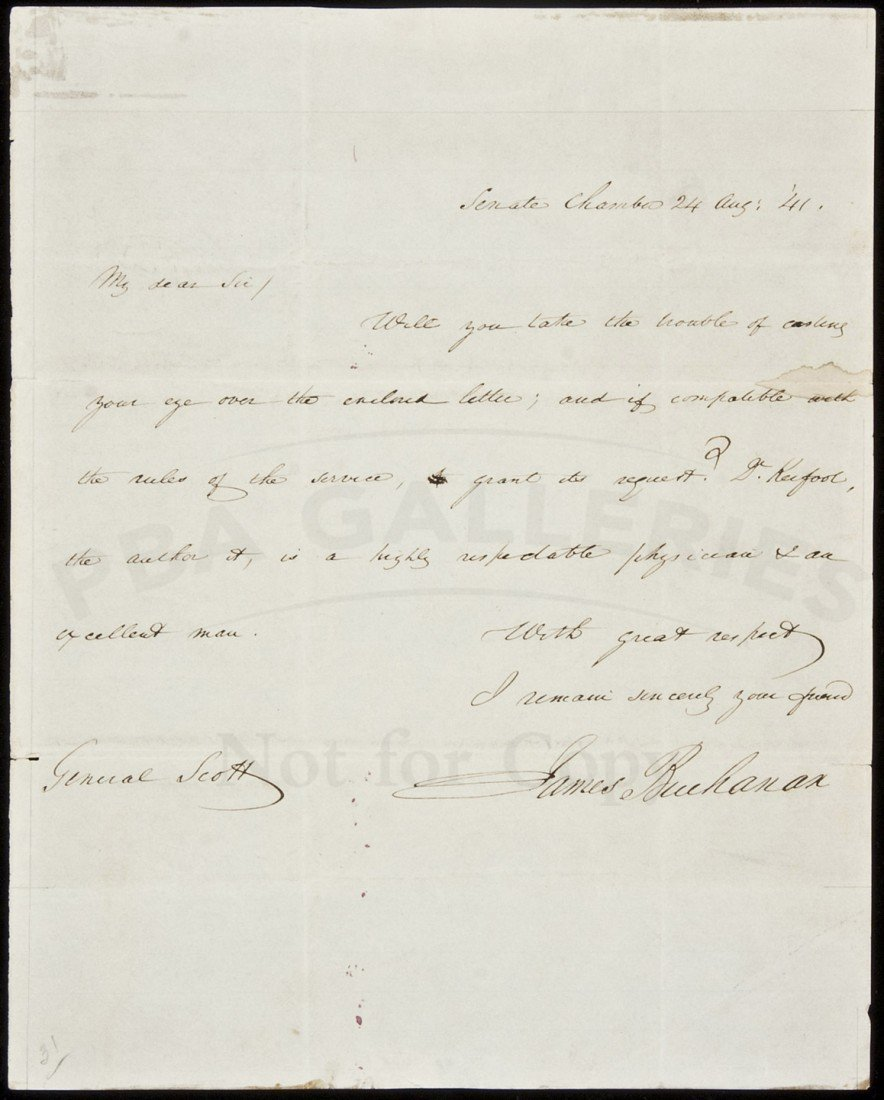 13: Autograph Letter, signed from James Buchanan