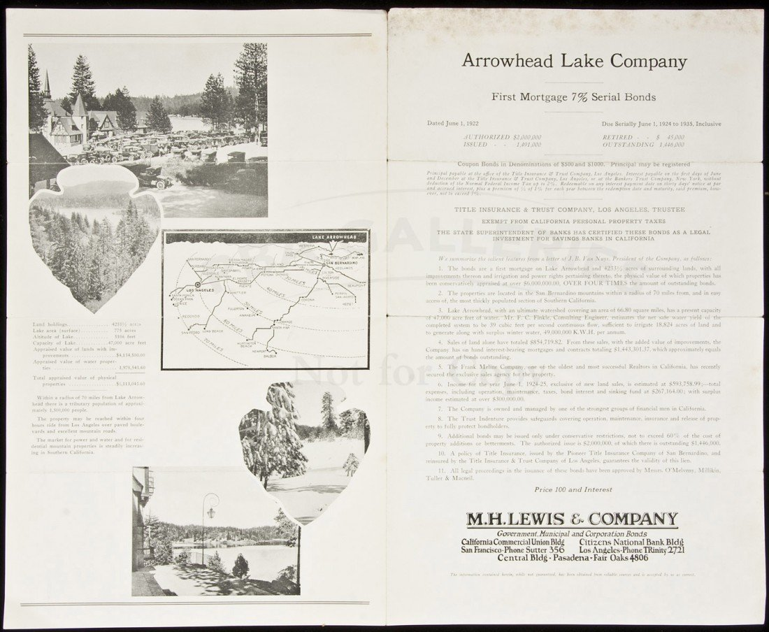 15: Bond prospectus for Arrowhead Lake 1922