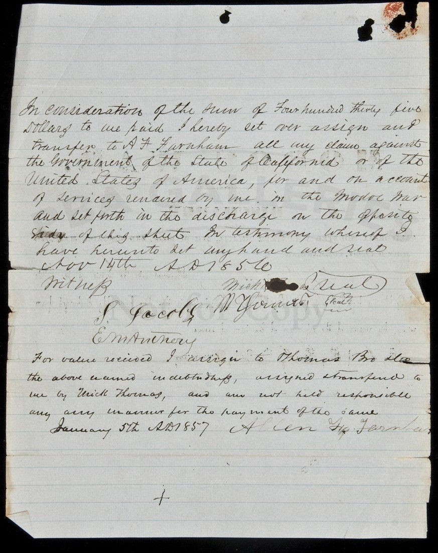 """19: Discharge Paper for a soldier in the """"Modoc War"""""""