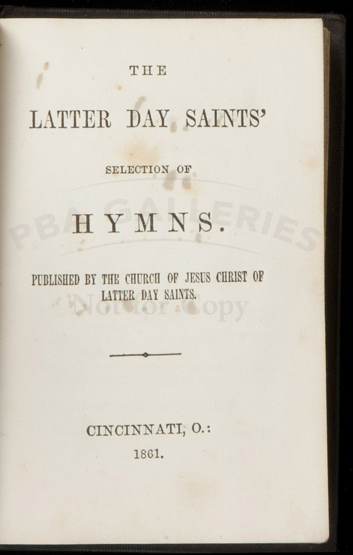 109: Rare 1861 LDS Hymnal Only 1 other copy known
