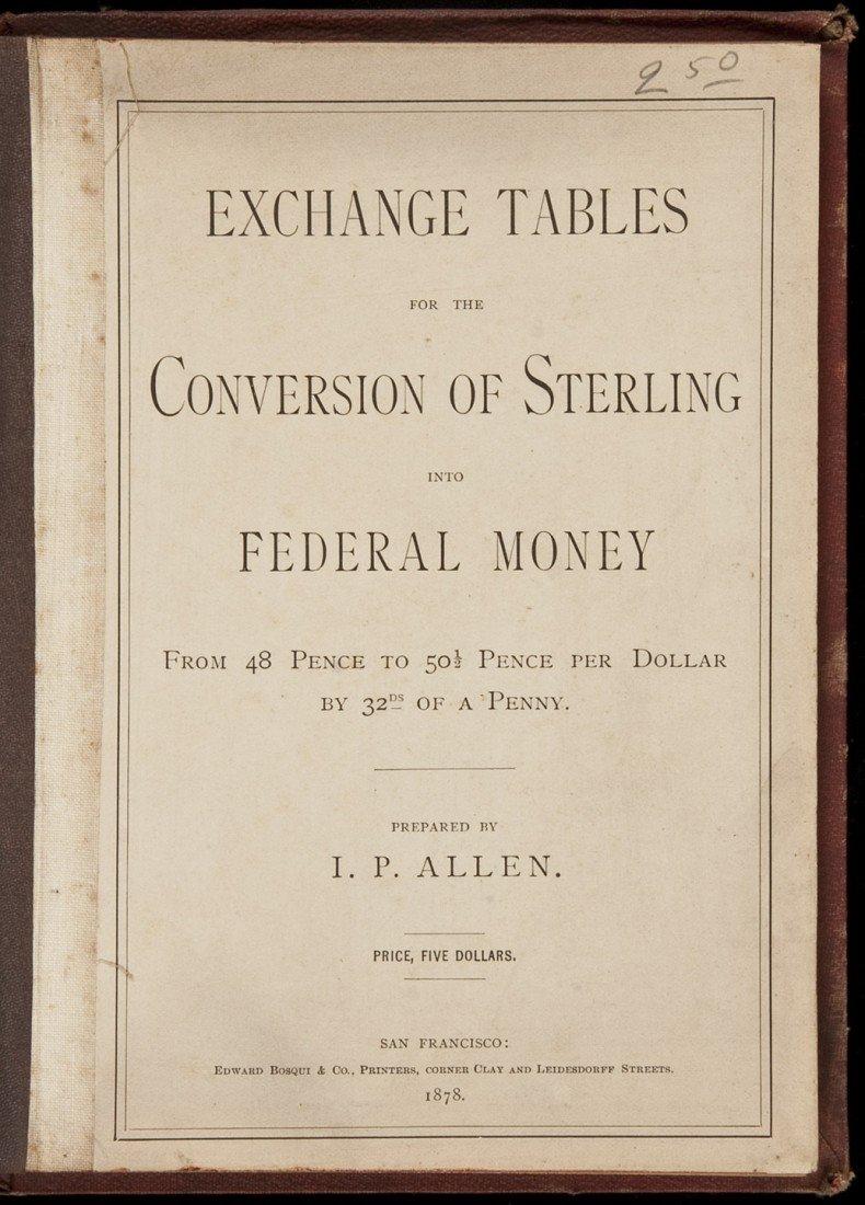 3: Allen's Exchange Tables for Sterling 1878