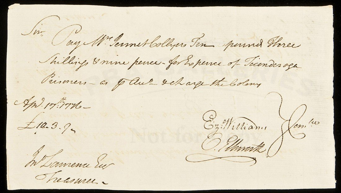 6: Payment for Fort Ticonderoga Prisoners 1776