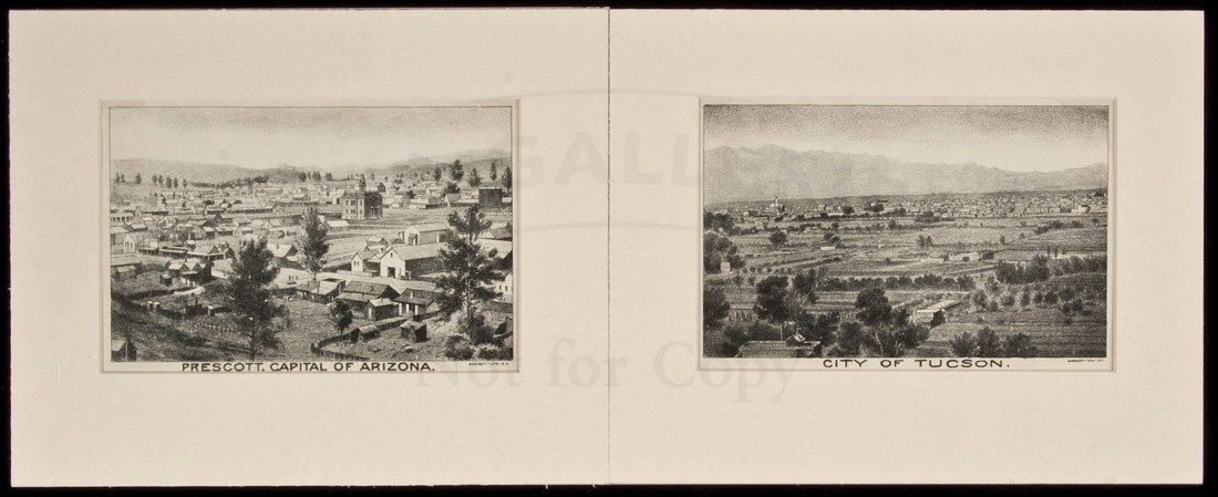 16: Two lithograph views of Arizona cities