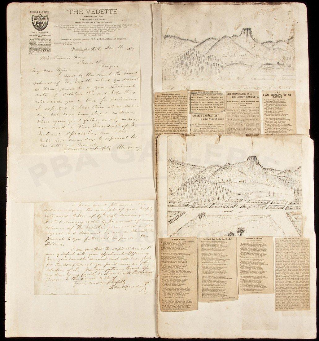 17: Sketches of Prescott & Thumb Butte, Arizona 1888