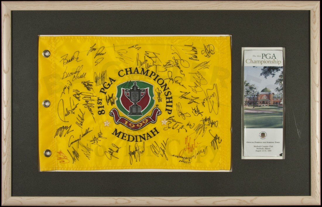 14: PGA Flag signed by Tiger & Phil 1999