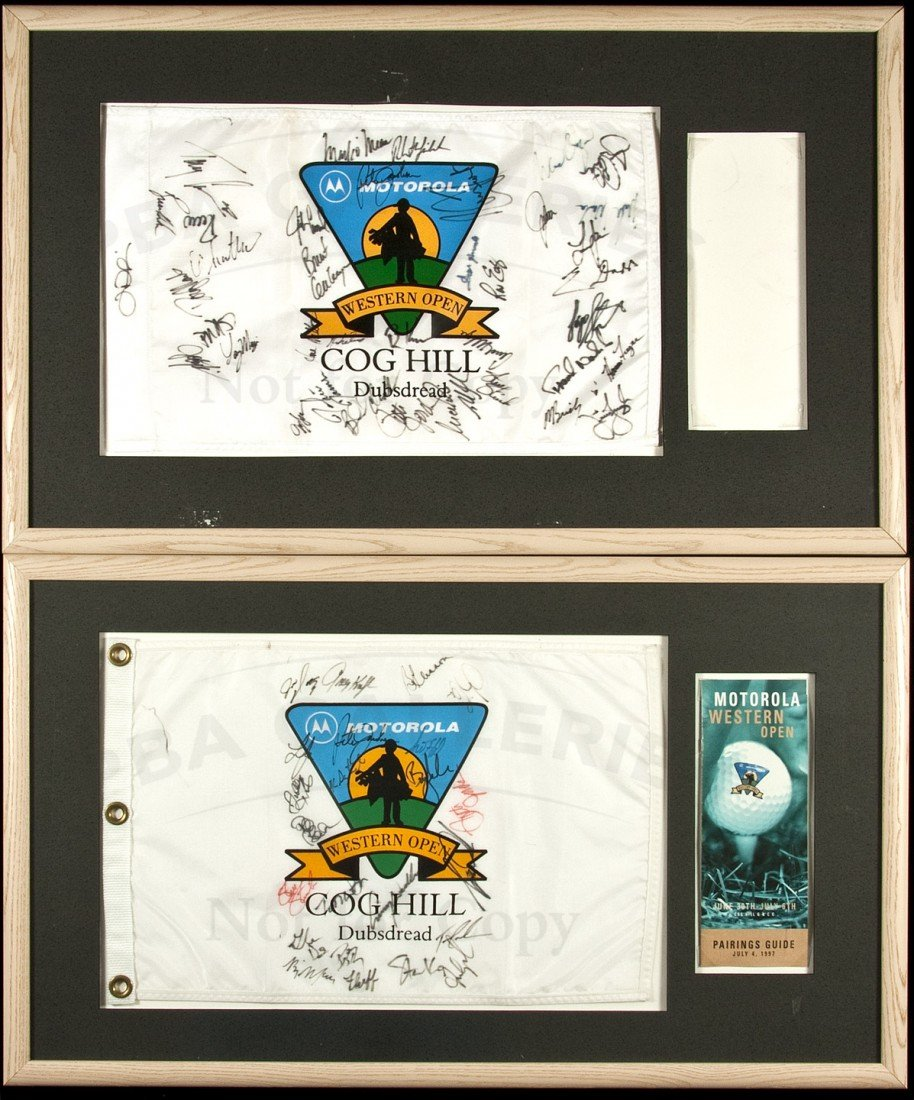 15: Signed flags from Western Open 1997 & 1998