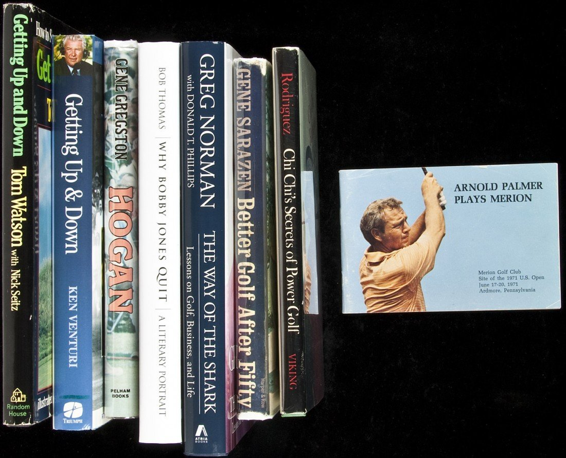 16: Seven golf volumes, autographed by golfers