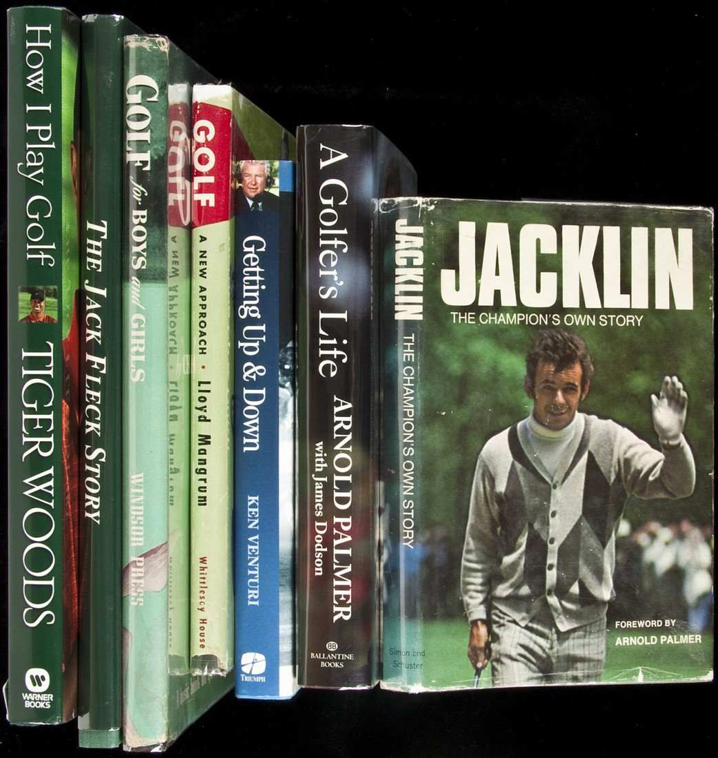 17: Seven golf volumes, autographed by golfers