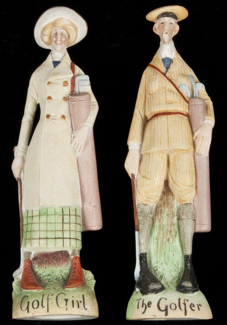87: Pair of bisque golfing figures