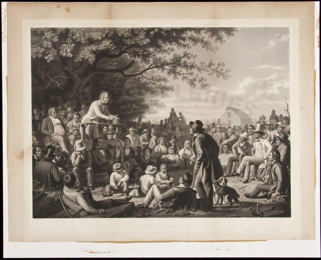 20: Rare George Caleb Bingham Print Stump Speaking
