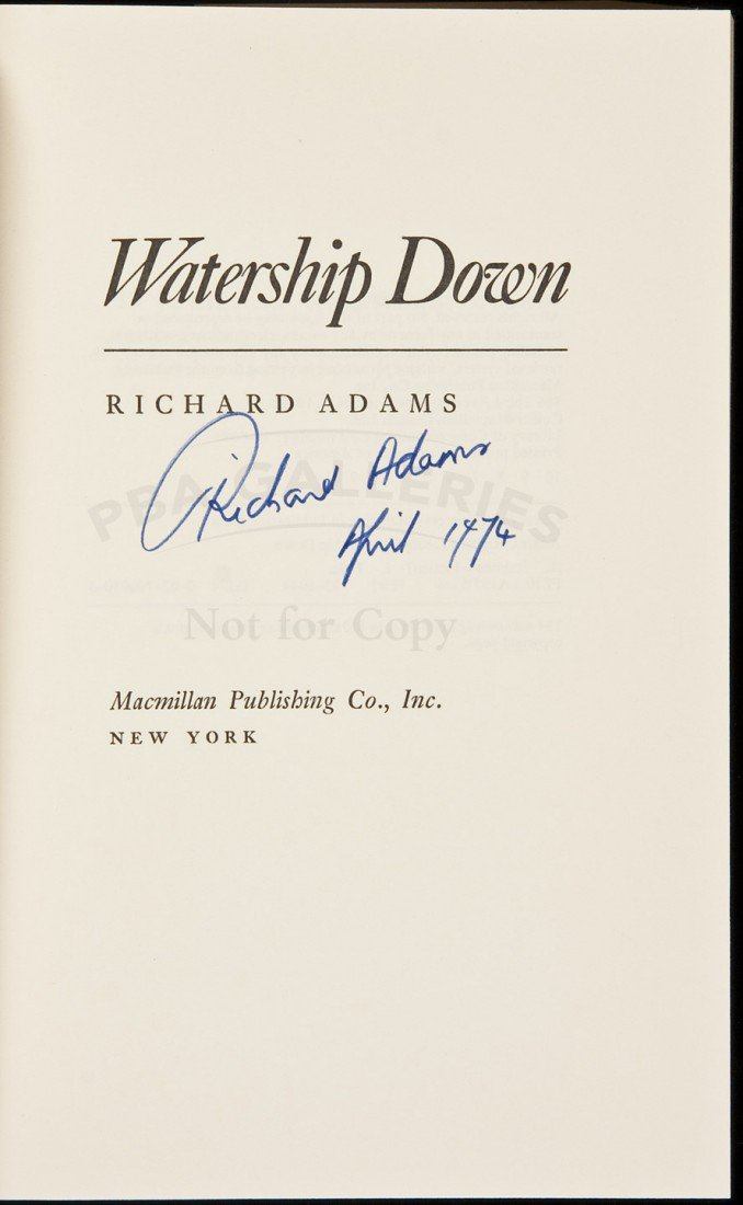 1: Watership Down signed by Richard Adams in dj