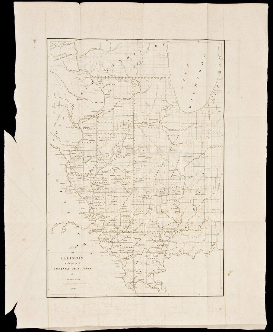 19: Map of Illinois with Parts of Indiana 1836