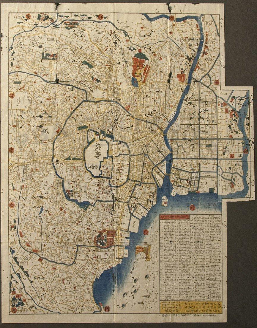 20: Large color woodblock map of Edo: Enjyu Oedo Ezu