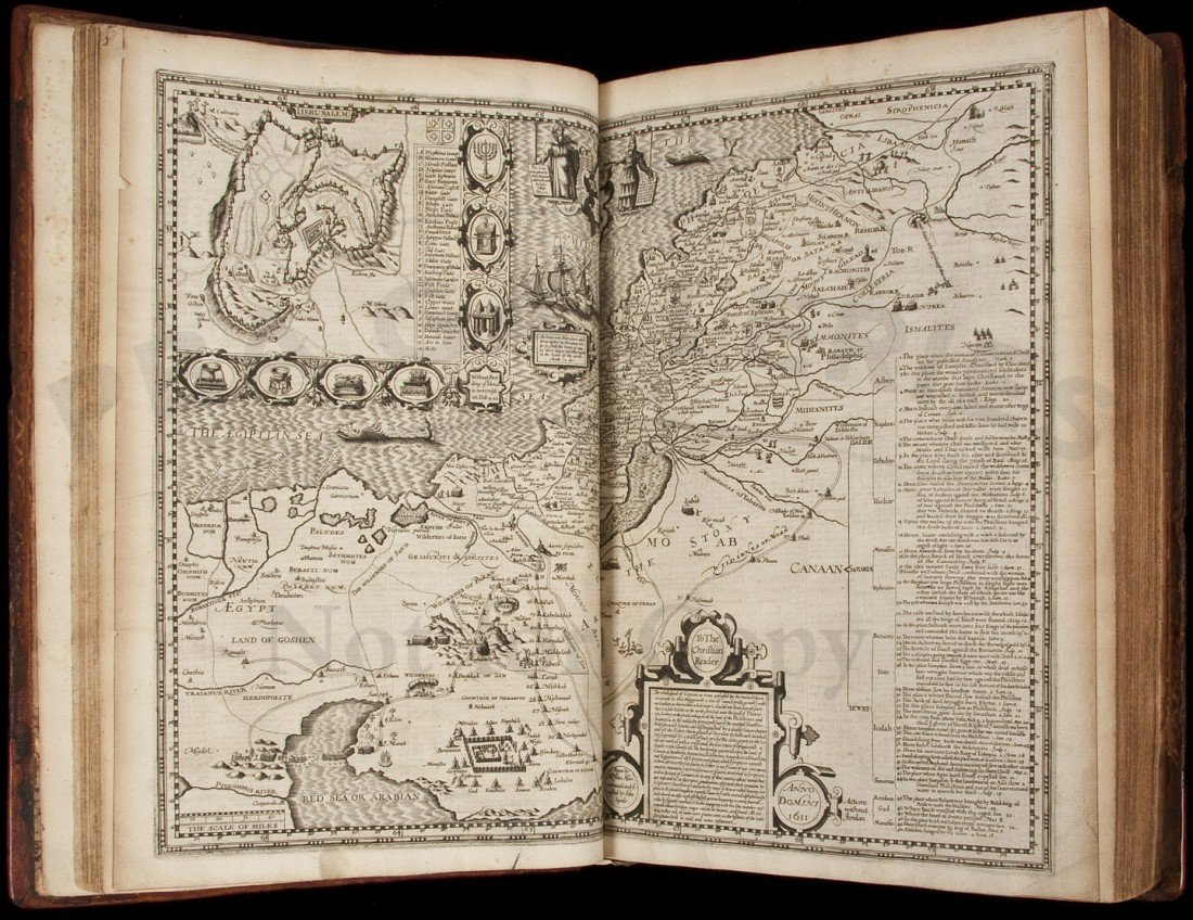 14: King James Bible 2nd folio 1613 with Speed map