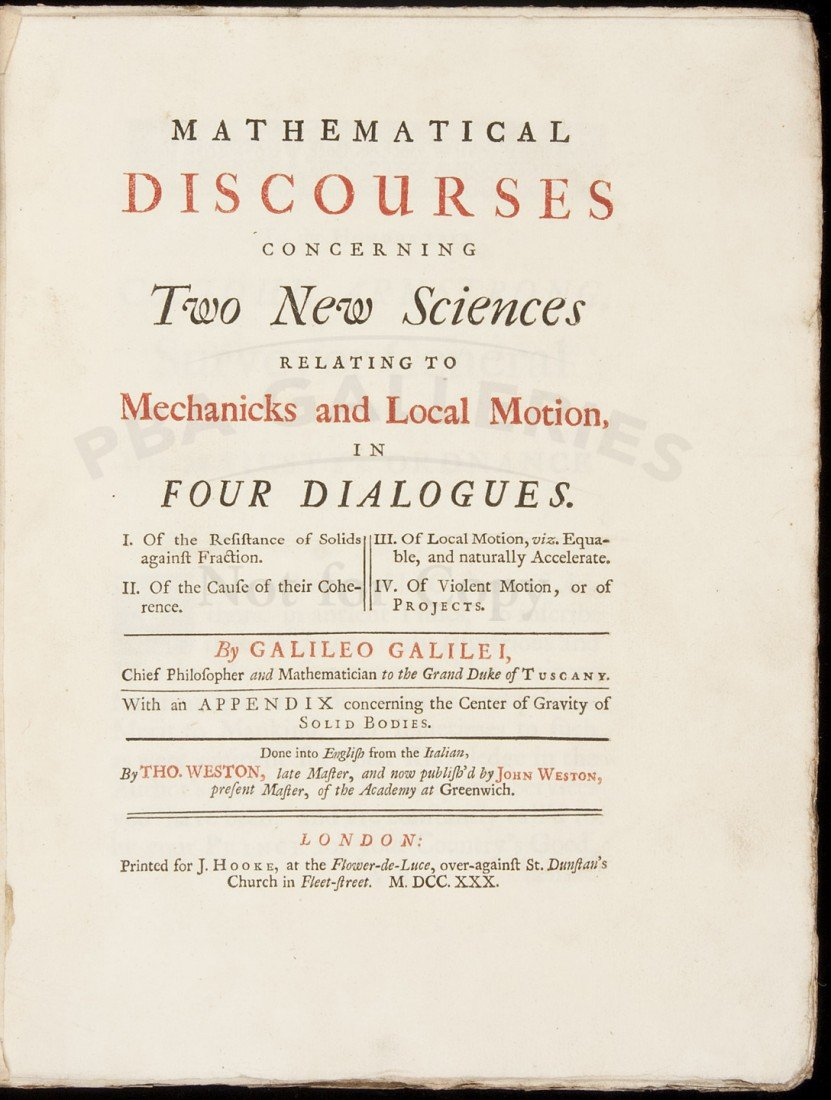 100: Galileo's Mathematical Discourses 1730