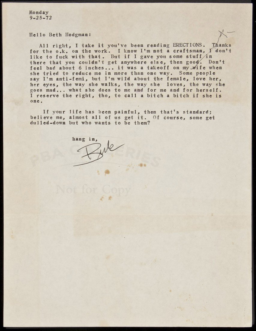 12: Typed Letter, signed, from Charles Bukowski
