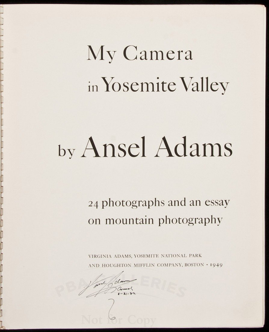 3: My Camera in Yosemite Valley signed by Adams