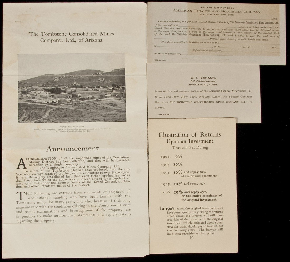 8: Tombstone Consolidated Mines Co. ephemera
