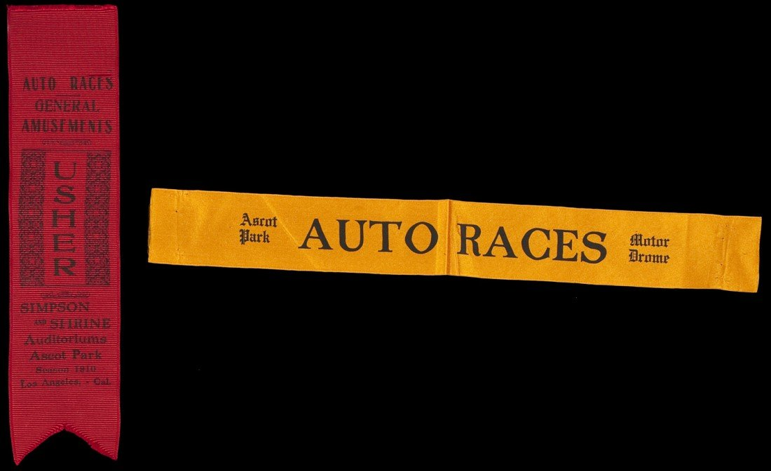13: Two ribbons from the Ascot Park Auto Races