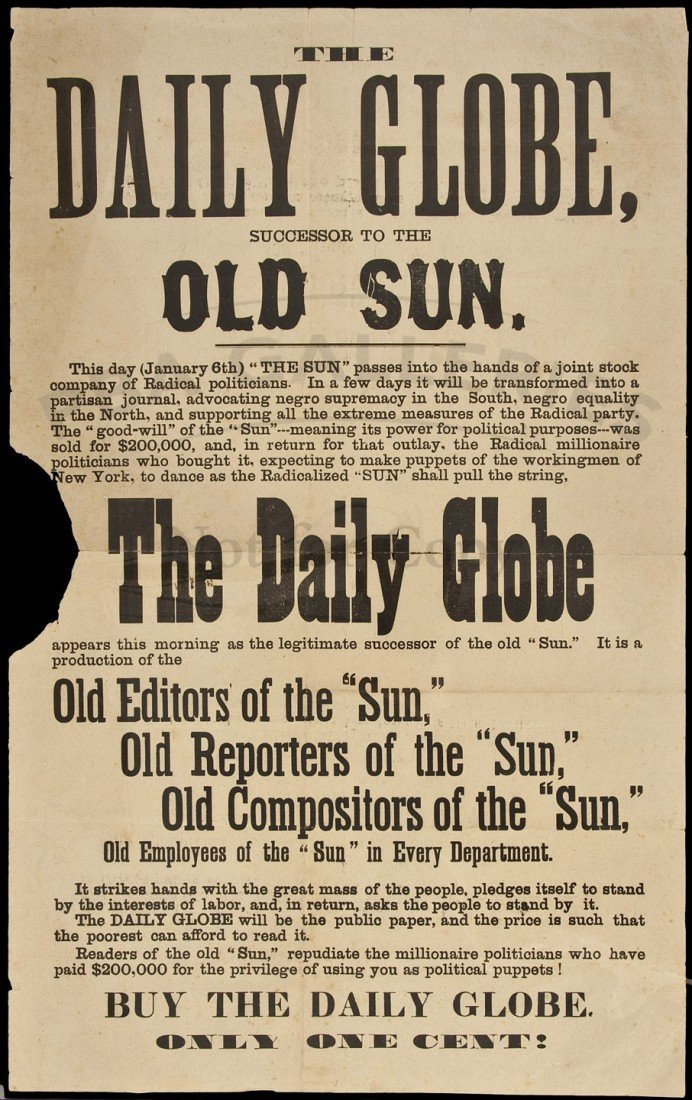 17: Broadside for the Daily Globe newspaper