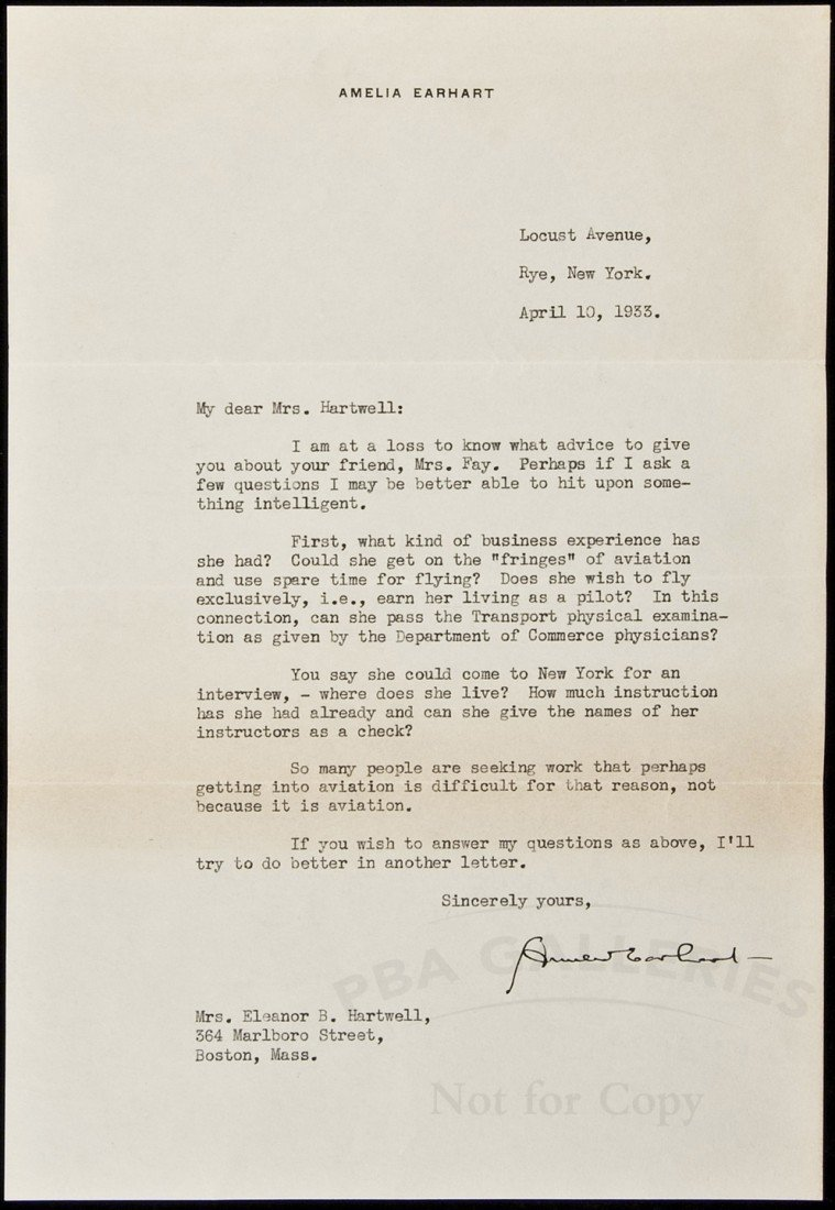 79: Letter from Amelia Earhart about aviation