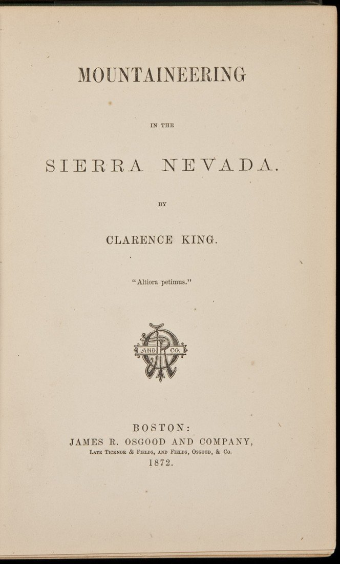112: Mountaineering Sierra Nevada 1872 1st issue
