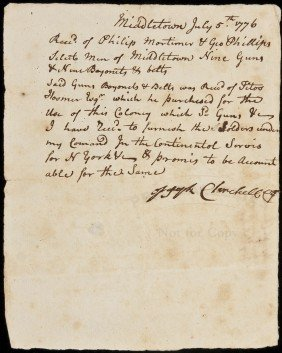 8: Receipt for guns after signing of Declaration