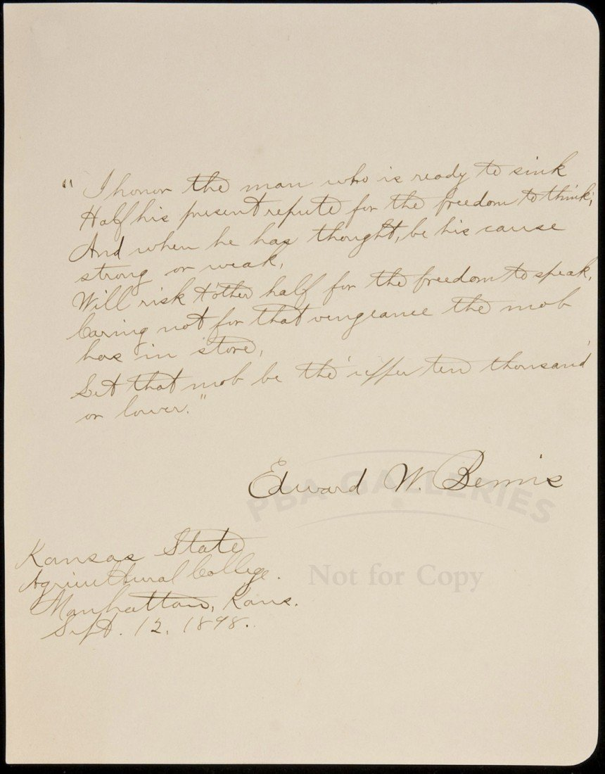 23: Autograph Quotation, signed Edward W. Bemis