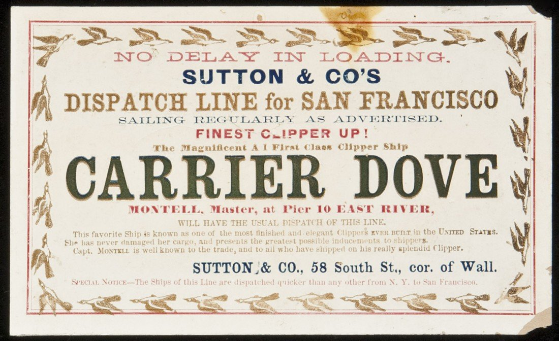192: Clipper Ship Card for Carrier Dove