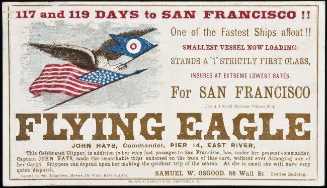 210: Clipper Ship Card for Flying Eagle by Nesbitt