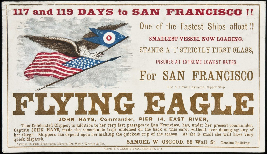 210: Clipper Ship Card for Flying Eagle by Nesbitt