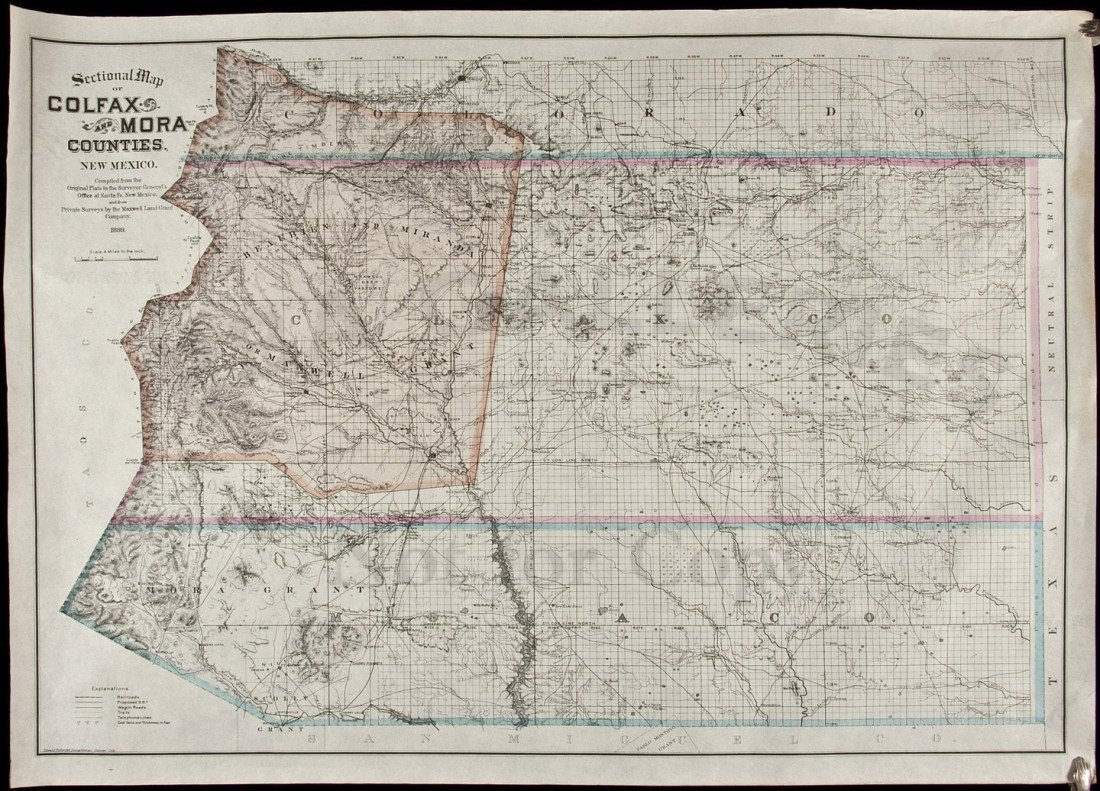 307: Map showing Maxwell Land Grant NM 1889