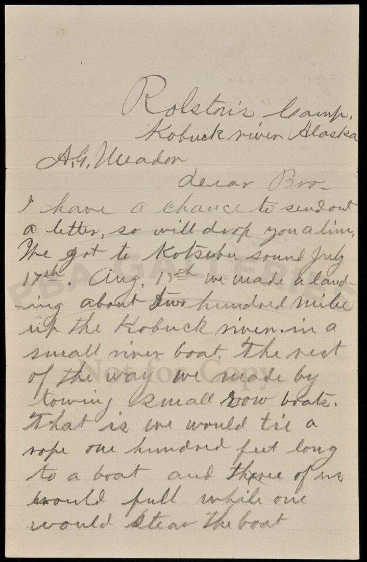 4: Alaska Gold Rush Letter Rolston's Camp 1899