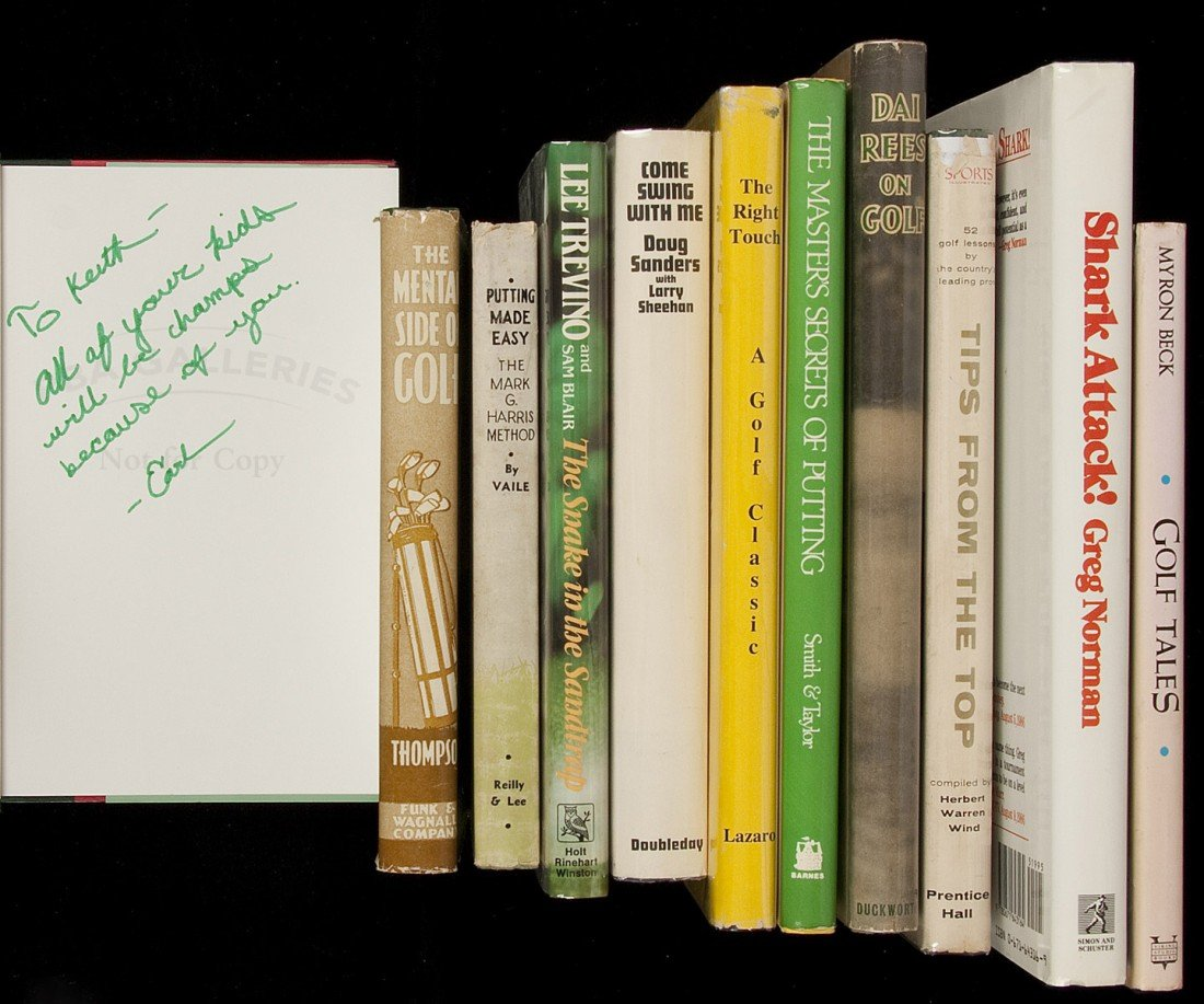 212: Eleven volumes of golf books - all signed