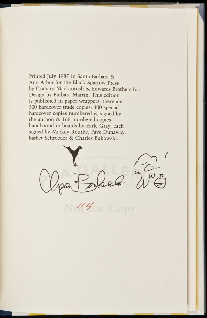 "11: Charles Bukowski The Movie: ""Barfly"" signed"