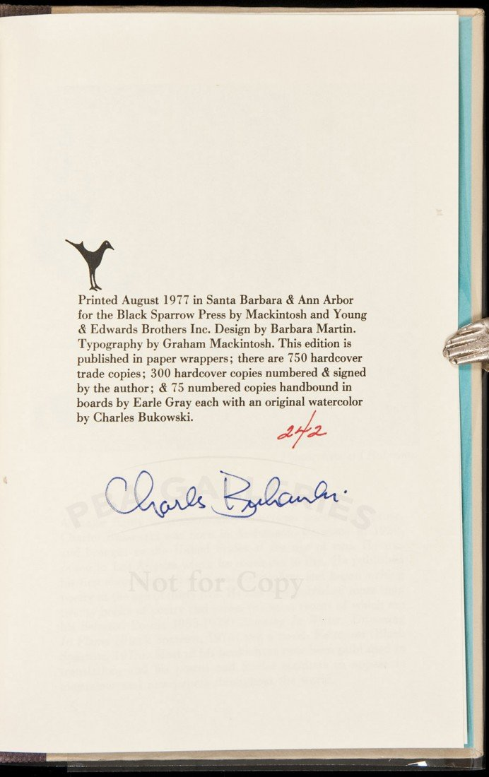 24: Bukowski Love is a Dog from Hell signed book
