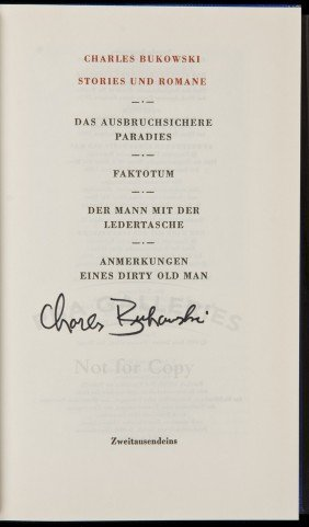 Bukowski Stories German Edition Signed