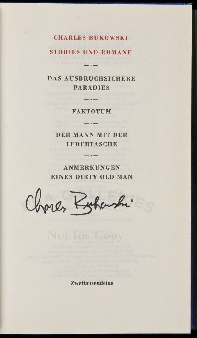 32: Bukowski Stories German edition signed