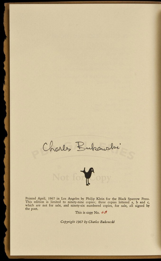 34: 2 Poems by Bukowski 1 of 99 signed