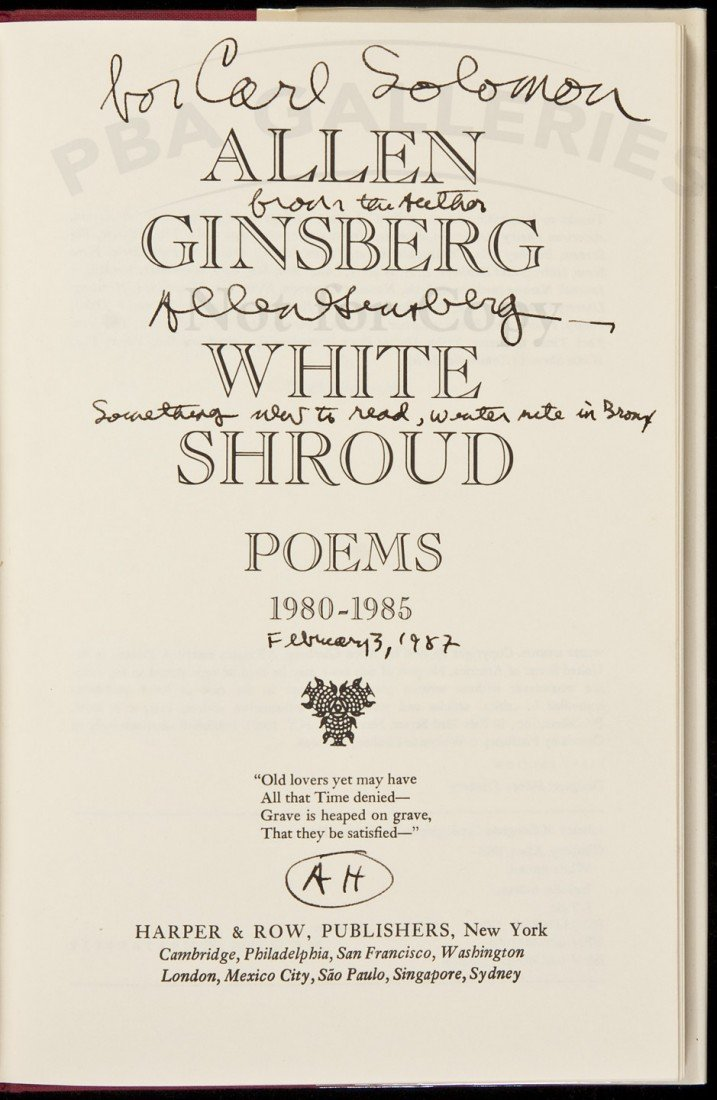 87: Ginsberg's Poems Inscribed to Carl Solomon