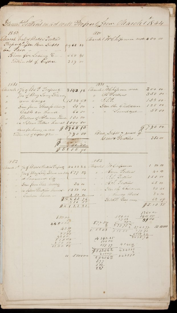 1: Account ledger for Daniel Perkins from 1844-1852