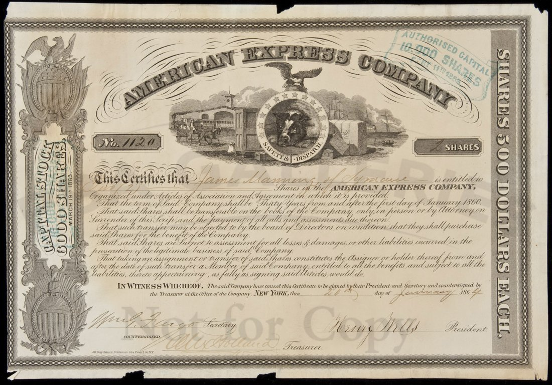 11: American Express Co. stock certificate