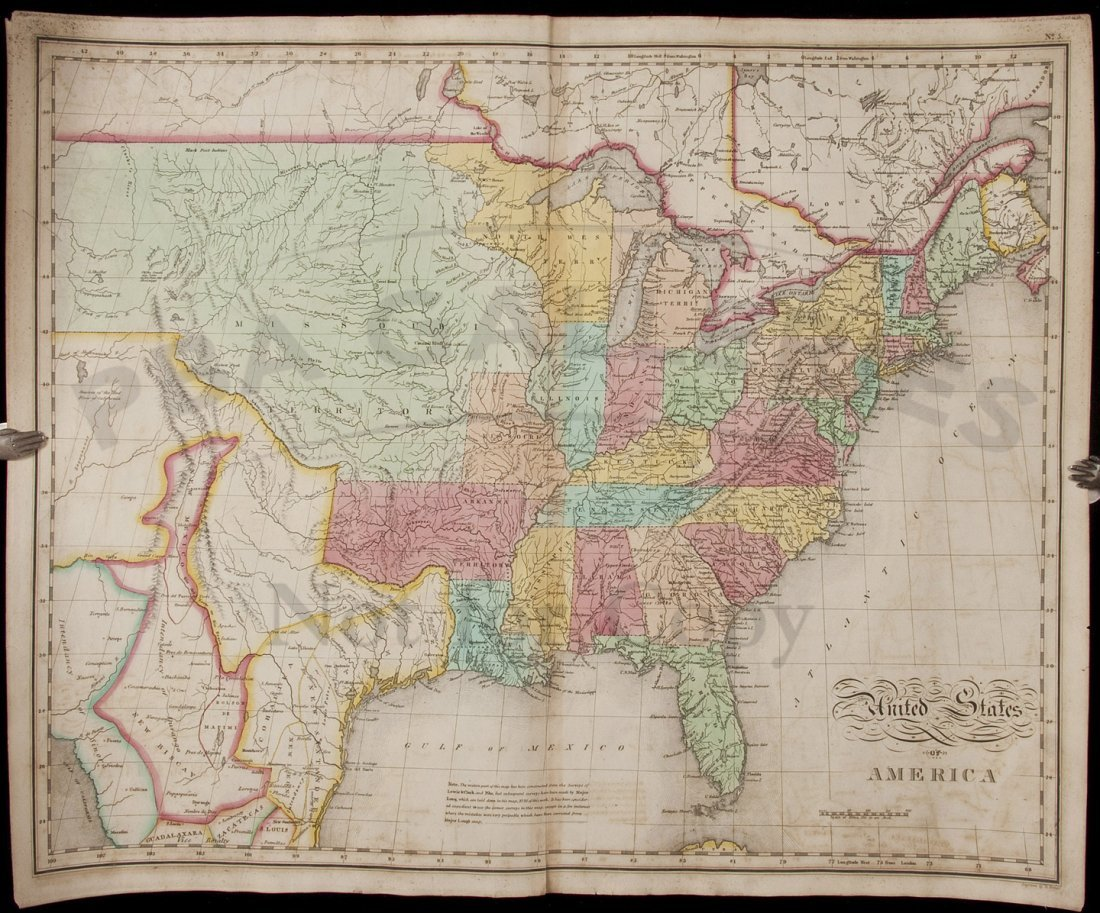 409: Carey & Lea's 1822 map of U.S. engraved by Tanner